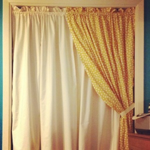 Oh what's that? Just a beautiful curtain to keep my closet hidden from view.