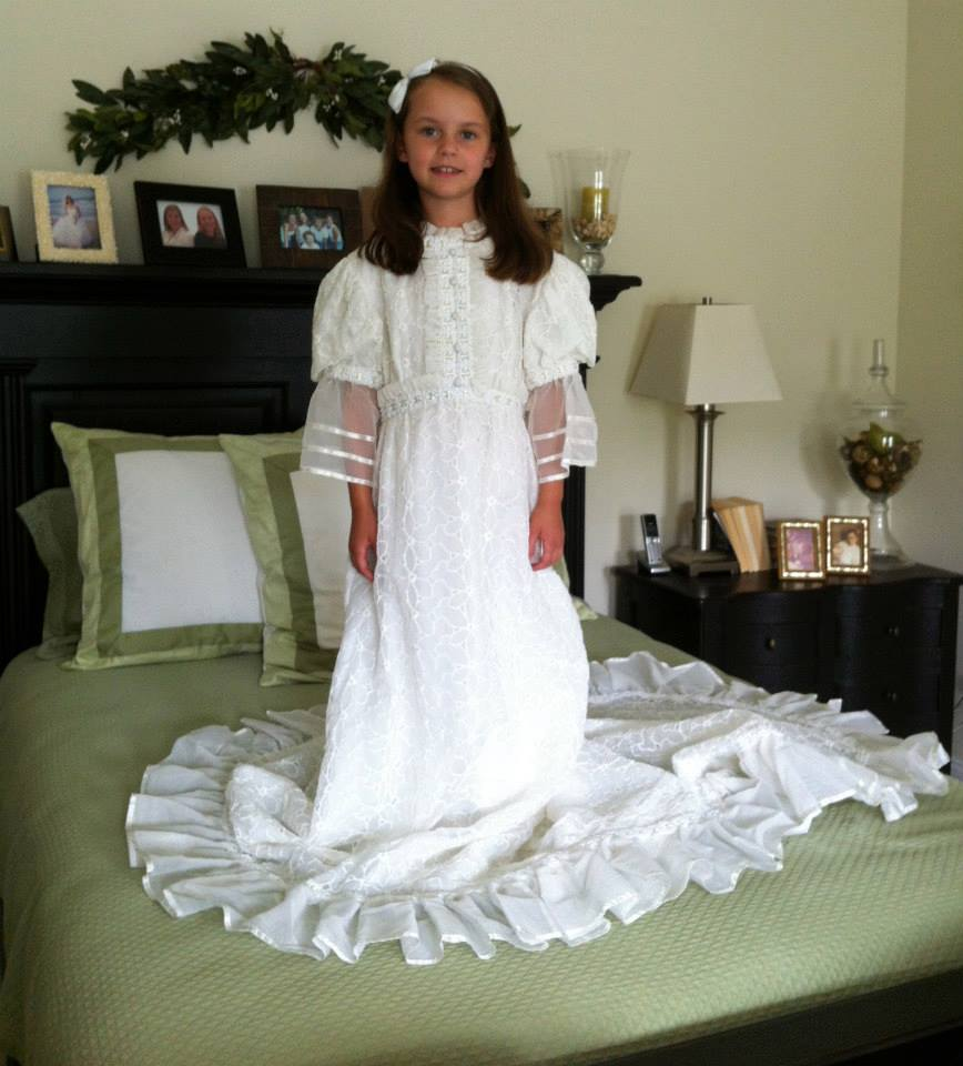 the all important mythical perfect wedding dress perfect wedding dress You could have chosen this beauty in like my mother did modeled by my nieces last summer FYI I stopped being able to fit into this dress by the time